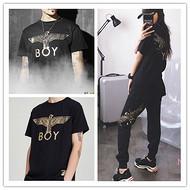 衣服货源BOY烫金大翅膀老鹰上衣长裤西方潮流服装广东批发一件代发