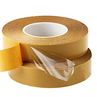 0.1pet双面胶带高粘超薄100U透明姜黄胶纸耐高温无痕