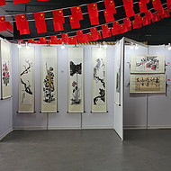 上海务美展览公司长期出租9成新八棱柱标准书画展板隔板屏风