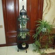 北欧铁艺鸟笼花架室内轻奢多层架客厅落地置物架角落装饰花盆架子
