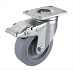 中型人造胶刹车脚轮生产厂家 万向TPR工业脚轮工厂