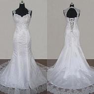 欧美鱼尾婚纱礼服鸡心领显瘦收腰鱼尾新娘结婚小拖尾大码