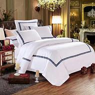 宾馆酒店床上用品四件套 客房布草贡缎提花酒店床品套件