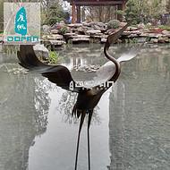 度帆缎铜仙鹤雕塑水景摆件