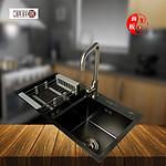 顺德祺祥居不锈钢纳米黑金刚手工盆厨房洗菜盆水槽双槽8245
