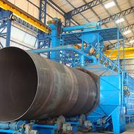 钢管抛丸机清理设备厂家,油管喷砂除锈设备价格。