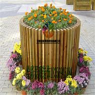 定做防腐木圆形花桶花槽木花盆公园花箱广场物业花箱木花车种菜盆树箱