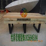 *戶外防腐木桌椅陽台實木休閑桌椅公園景區長條坐具桌椅