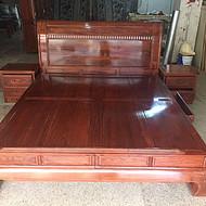 东阳红木卧室家具 名琢世家刺猬紫檀新中式大床报价