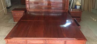 名琢世家刺猬紫檀红木1.8米新中式大脚床新品全国招商中