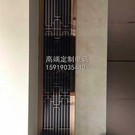 铜艺花格金属隔断墙酒店铜幕墙格栅中式进门屏风不锈钢拉丝铜玄关