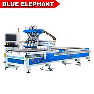 蓝象板式家具数控雕刻机 橱柜门开料机 1325四工序开料机 板式家具侧孔机