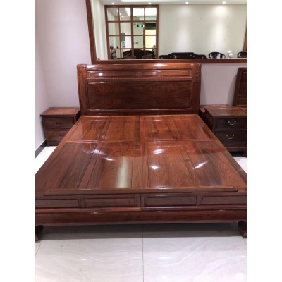 明式卧室红木家具 刺猬紫檀1.8米弯腿大床新品面世