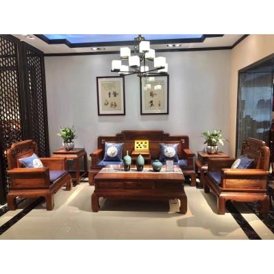 广东客厅红木家具 名琢世家刺猬紫檀红木国宾宝座沙发新款