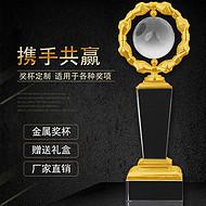 水晶奖杯奖牌定制定做 金属工艺品摆件水晶颁奖纪念品