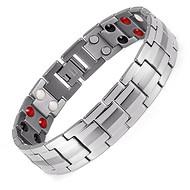 不锈钢双排磁石手链 男款不锈钢手链批发