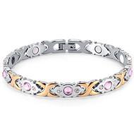 不锈钢女款镶钻锆石磁石手链批发 润时首饰