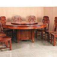 济南实木餐具刺猬紫檀2米圆餐台13件套工厂价格