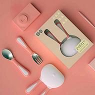 雪卡儿sharecare兔宝宝叉勺套装儿童餐具不锈钢叉勺新生儿辅食吃饭叉勺
