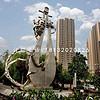 不锈钢抽象弹琵琶雕塑,城市景观雕塑