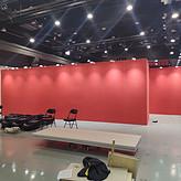 米黄色挂画展板租赁 红色画展展墙 活动布展 租书画拼装展板布置