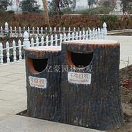 广东水泥仿木垃圾桶制作 河源公园景观垃圾桶效果图