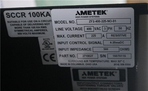 AMETEK阿美特克ZF2-400-225-NO-01
