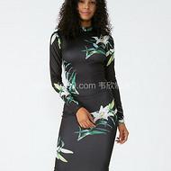 外贸服装厂2019春夏新款黑色立领收腰包臀印花连衣裙